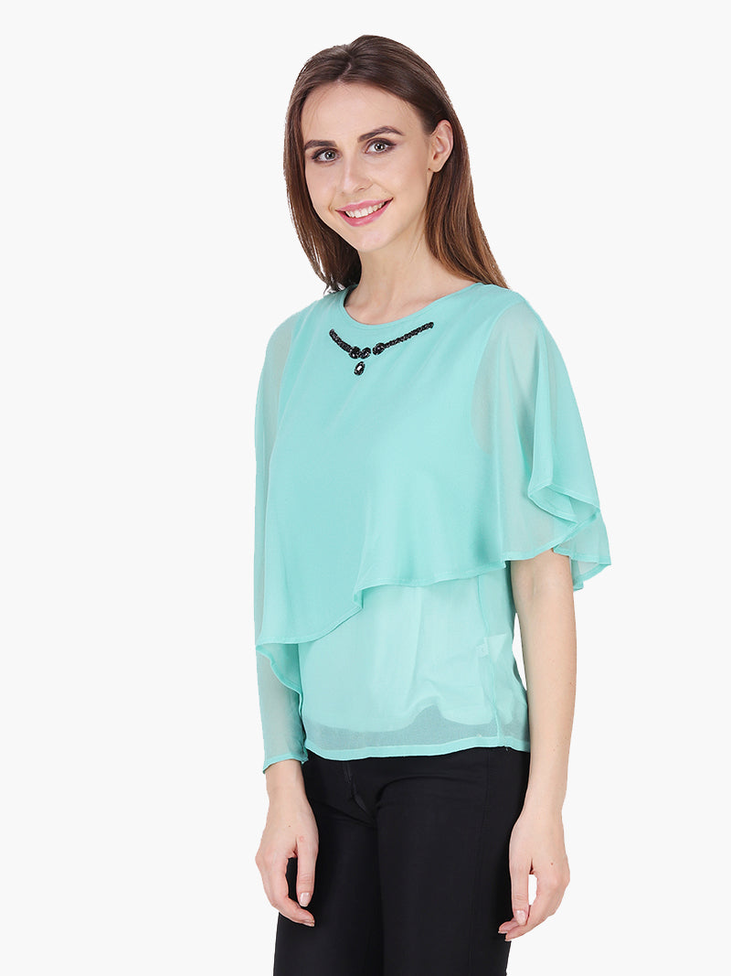 Sea Green Embellished Woman Top - MissGudi