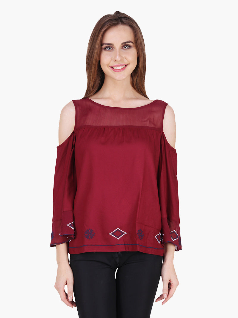 Maroon Viscose Embroidered Party Top - MissGudi