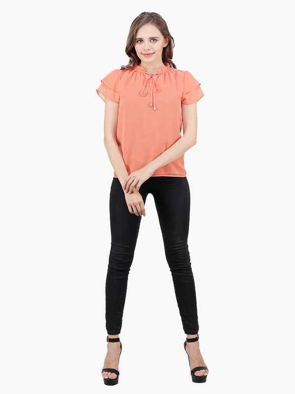 Peach Georgette Woman Top - MissGudi