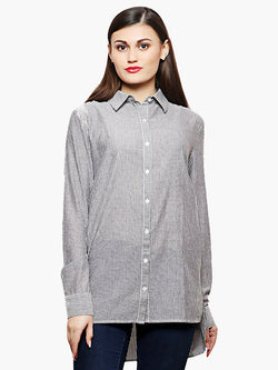 Cotton Grey Stripe Regular Shirt - MissGudi