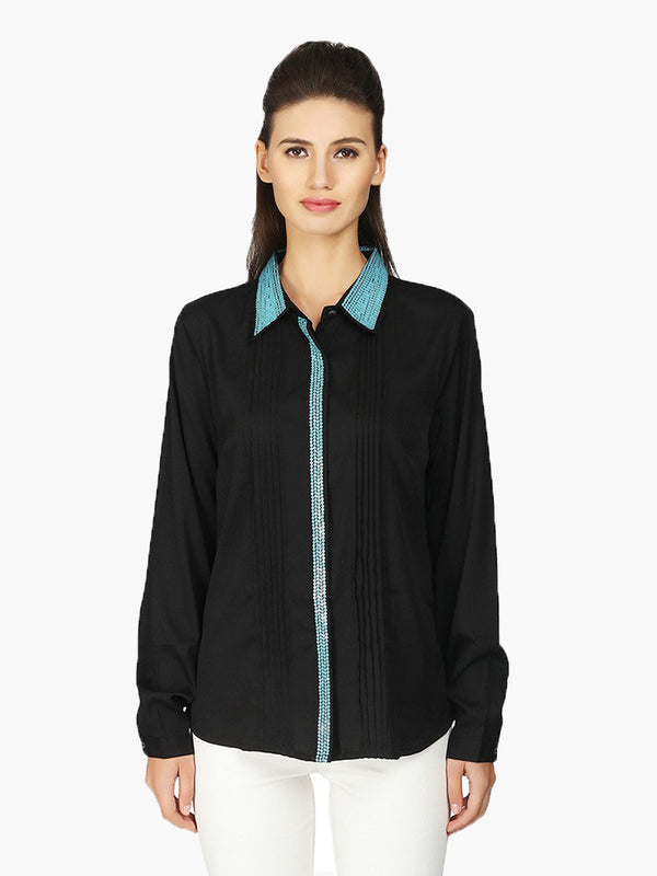 Black Full Sleeve Embellished Woman Shirt - MissGudi