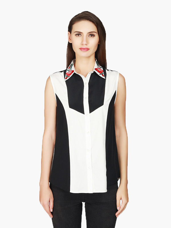 Black Embroidered Crepe Shirt - MissGudi