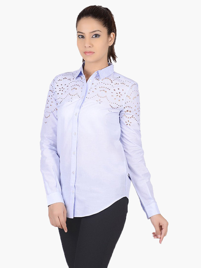 Blue Cotton Full Sleeves Casual Shirt - MissGudi