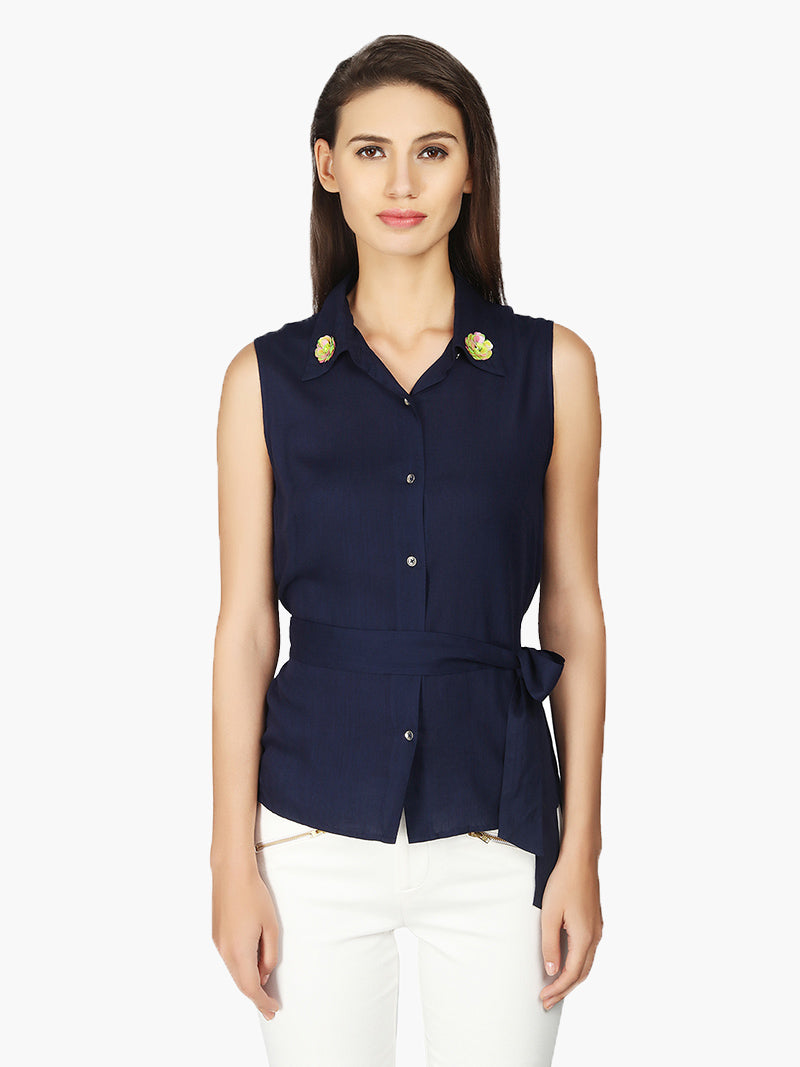 Navy blue Viscose Women Shirt - MissGudi