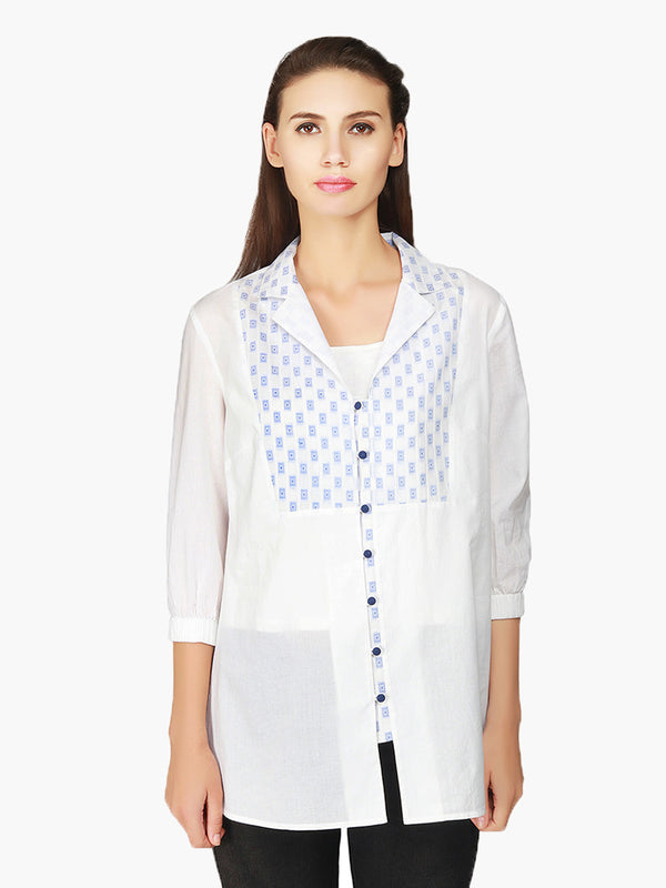 White Cotton Women Shirt - MissGudi