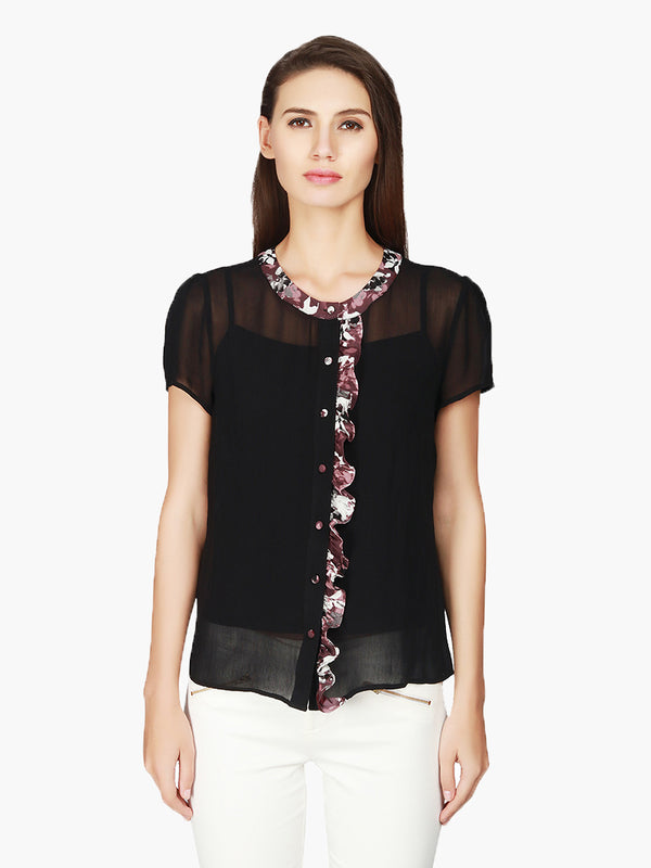 Black Georgette Printed Neck  Women Shirt - MissGudi