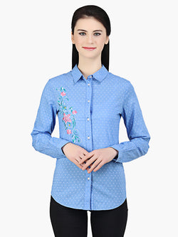 Blue Cotton Dobby Embroidered Woman Shirt - MissGudi