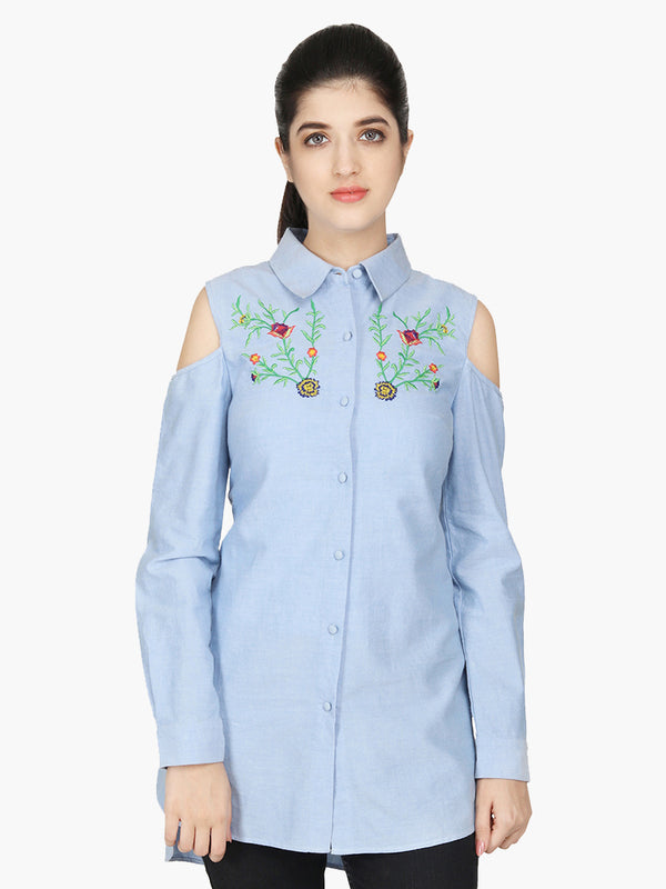 Light Blue Cotton Embroidered Shirt - MissGudi
