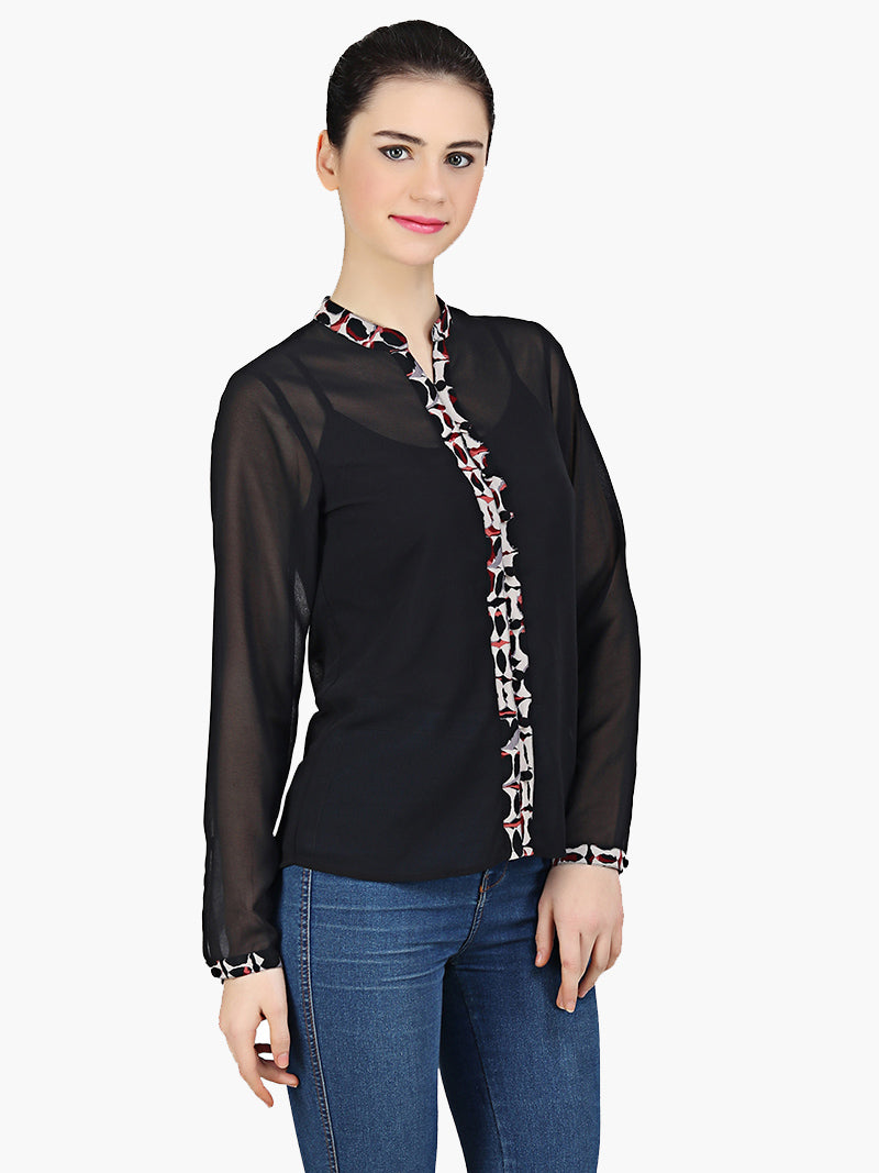Black Georgette Printed Placket Shirt - MissGudi