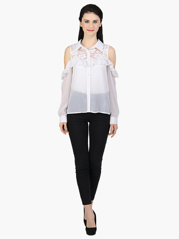 White Georgette Cold Shoulder Shirt