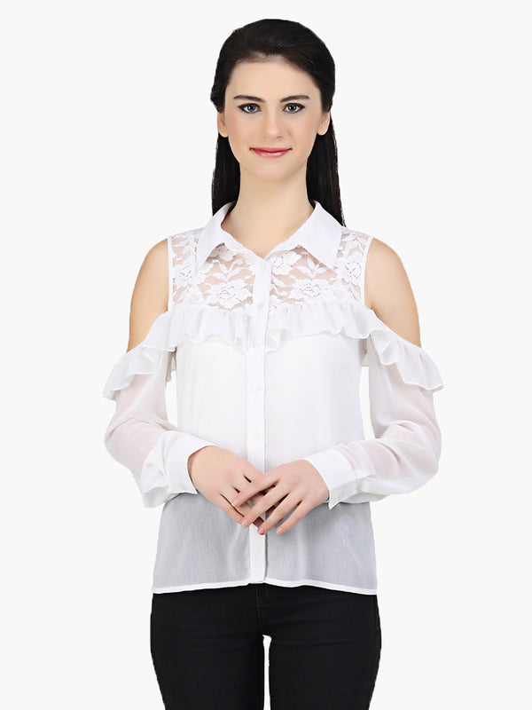 White Georgette Cold Shoulder Shirt - MissGudi
