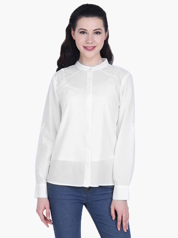 White Cotton shiffli Shirt - MissGudi