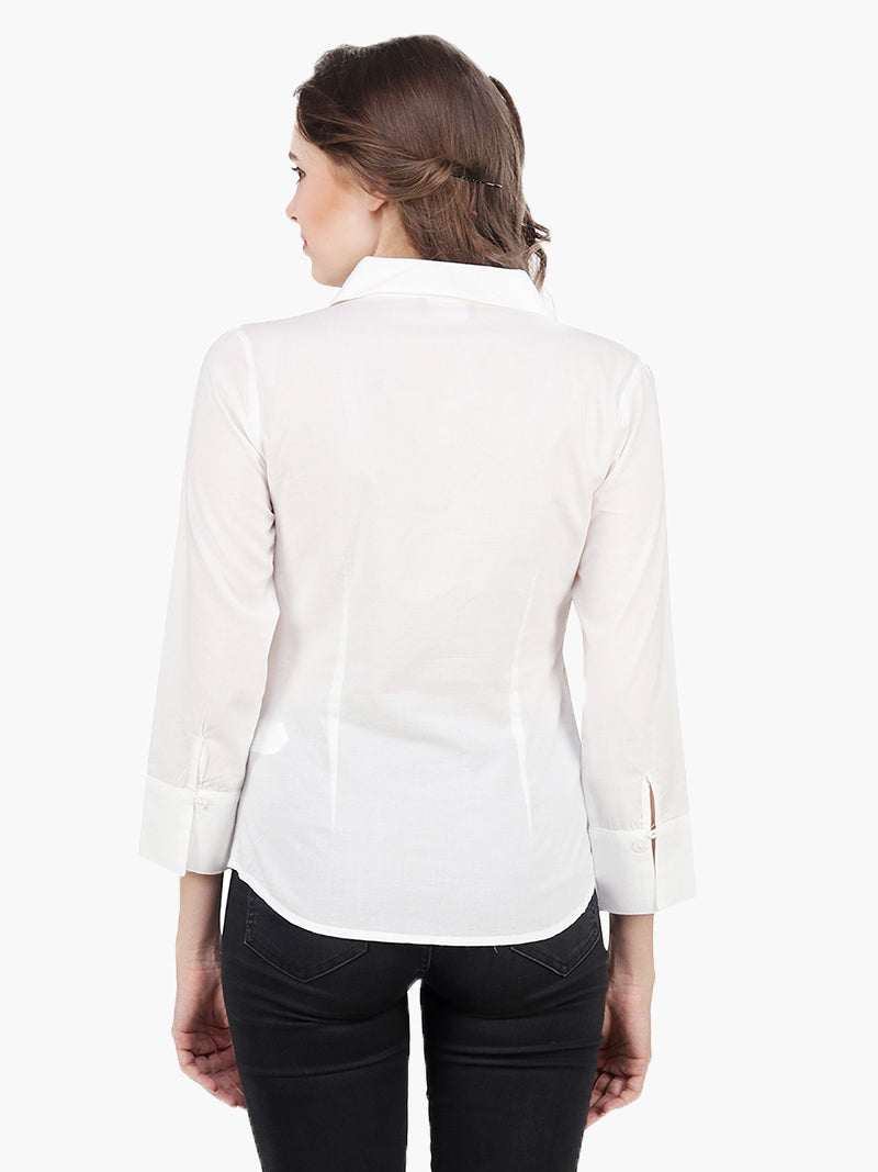 White Cotton schiffli Shirt - MissGudi