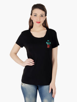 Black Viscose knitted Women T-Shirt - MissGudi