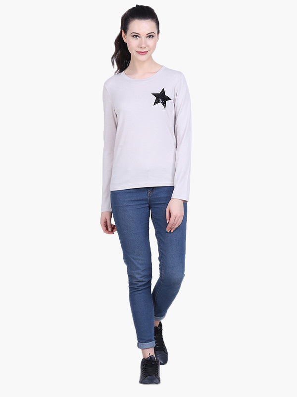 Viscose Knitted Embellished T-shirt - MissGudi