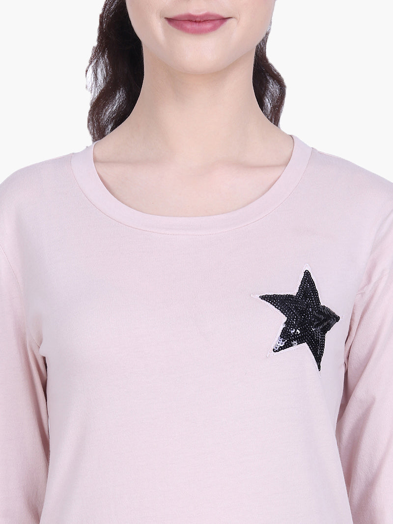 Blush Viscose Knitted Embellished T-shirt - MissGudi