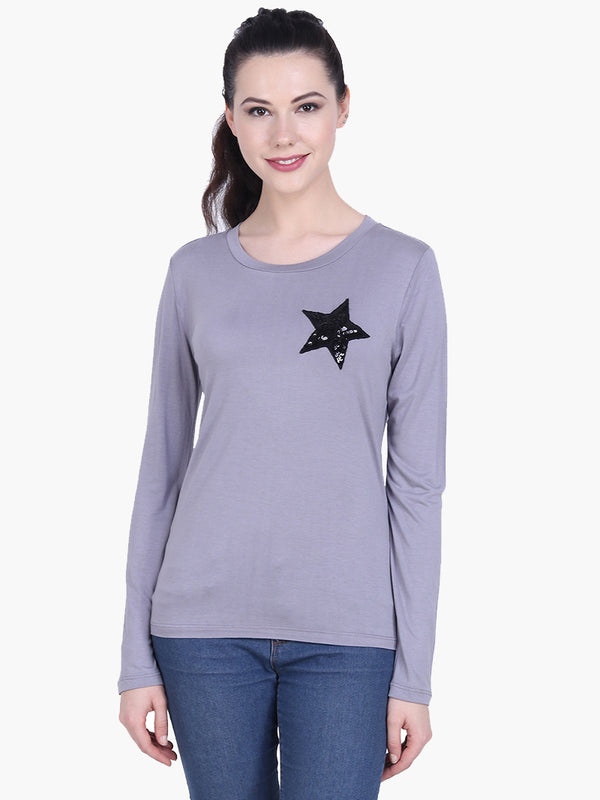 Grey Viscose Knitted Embellished T-shirt - MissGudi