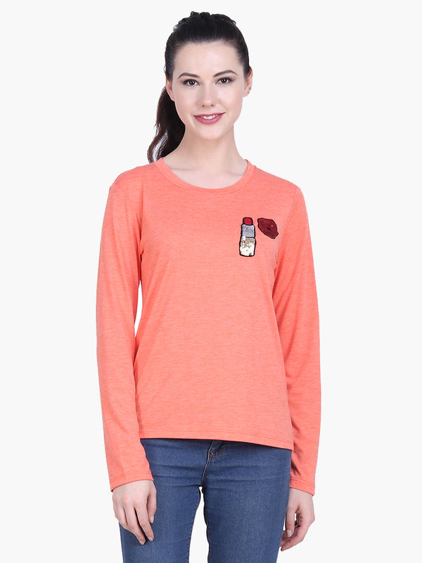 Orange Viscose Knitted Embellished T-shirt - MissGudi