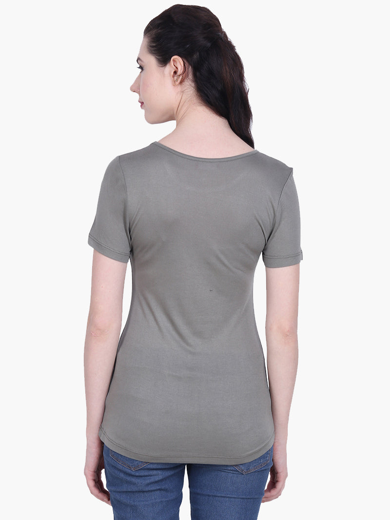 Olive Green Viscose Knitted Embellished T-shirt - MissGudi