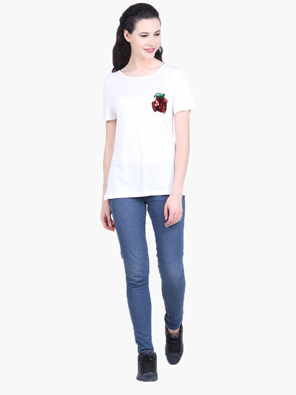 White Viscose Knitted Embellished T-shirt