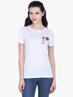 White Viscose Knitted Embellished T-shirt - MissGudi