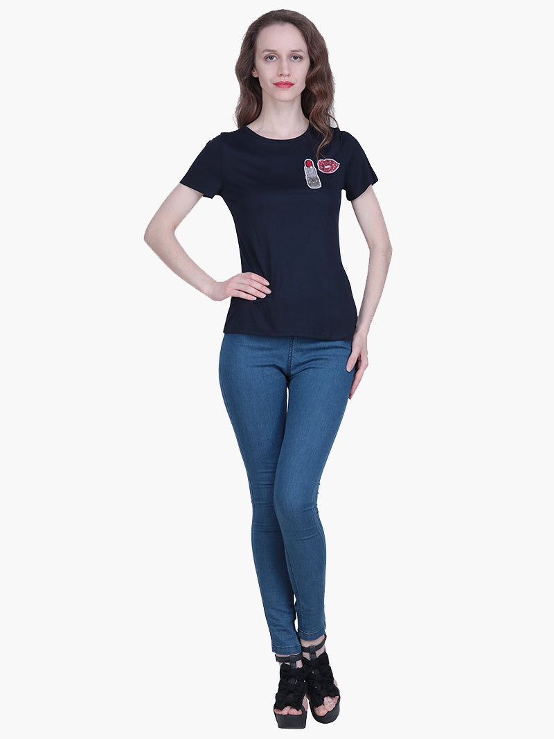 Navy Blue Viscose Knitted Embellished T-shirt - MissGudi