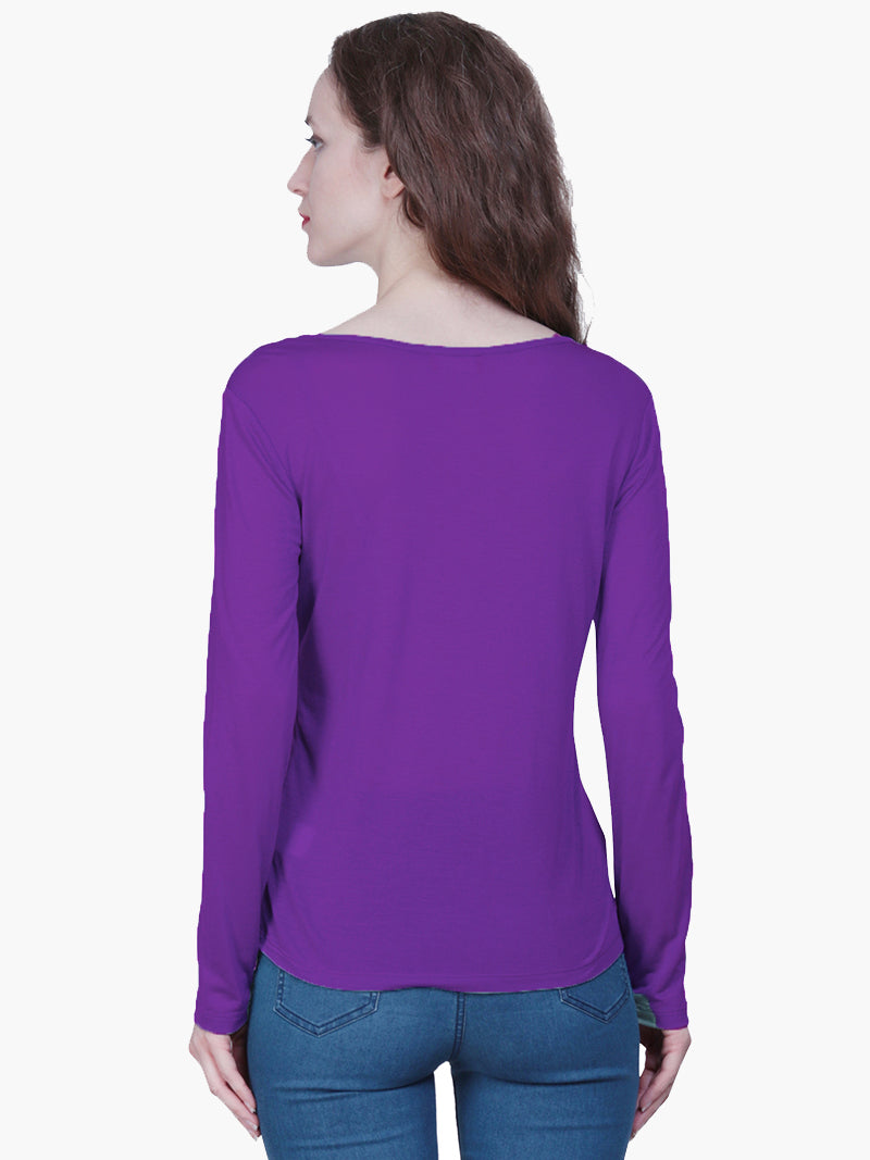 Purple Viscose Embroidered Woman T Shirt - MissGudi