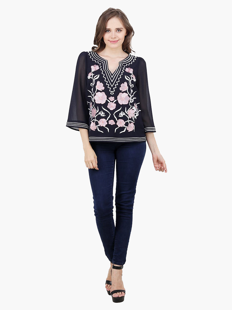 Navy Blue Embroidered top - MissGudi