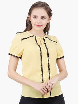 Yellow Lace Women Top - MissGudi