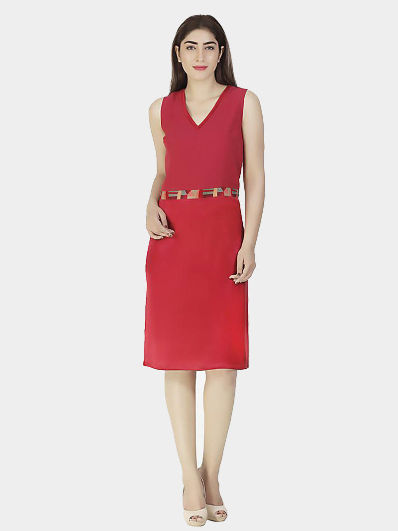 Red Embroidered Silk Party Dress - MissGudi