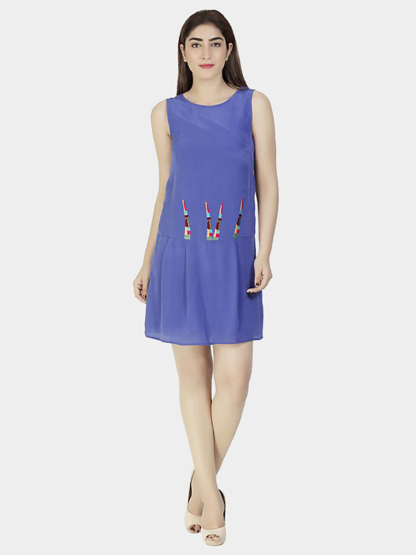 Blue Embroidered Silk Party Dress - MissGudi