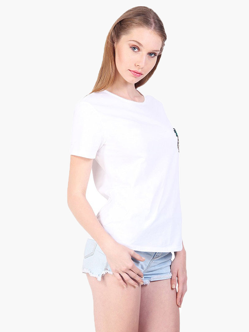 White Embellished Cotton Casual T-Shirt - MissGudi