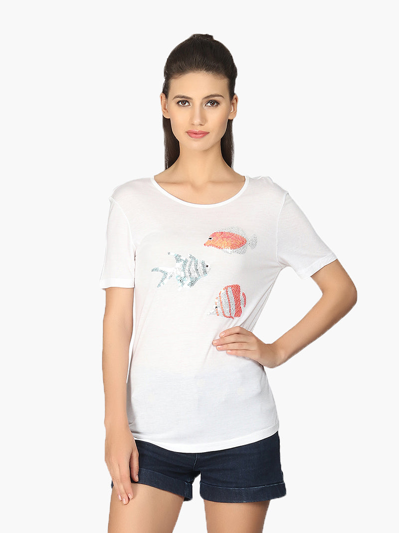 White Sequinned Casual T-Shirt - MissGudi