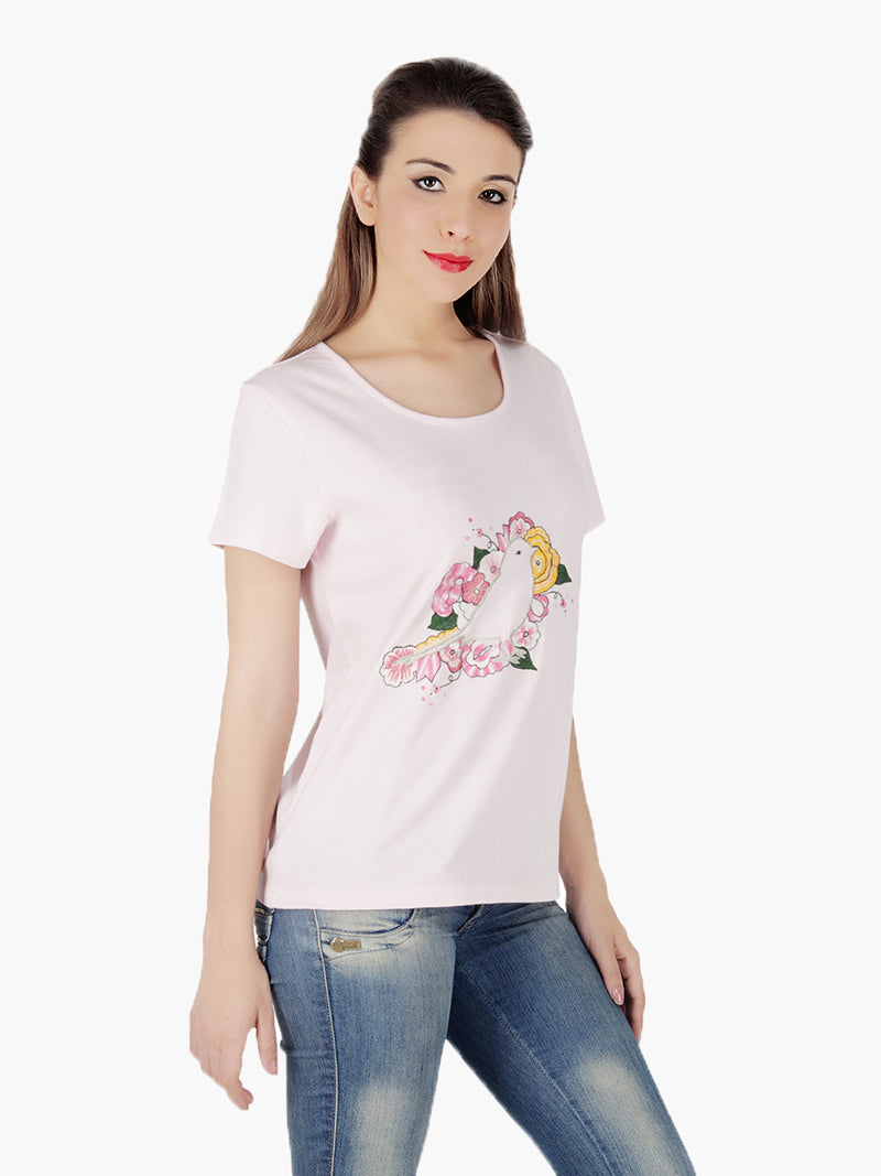 Pink Embroidered Regular T-Shirt - MissGudi