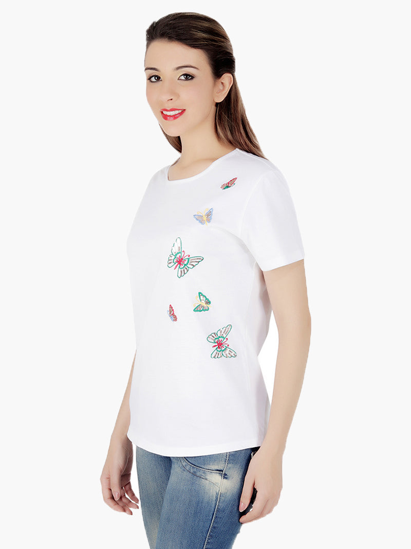 White Cotton Knitted butterflies Women T-Shirt - MissGudi