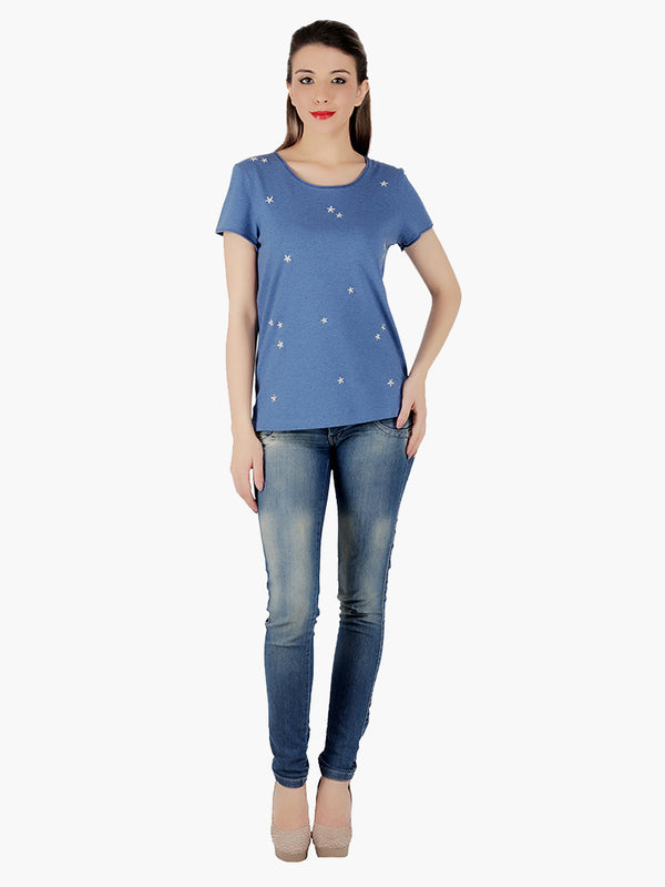 Blue Viscose knitted Women T-Shirt - MissGudi