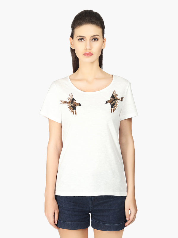 White Viscose T-Shirt - MissGudi