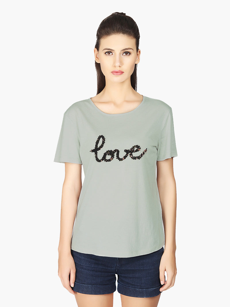 Grey Viscose Jersey Woman T-Shirt - MissGudi