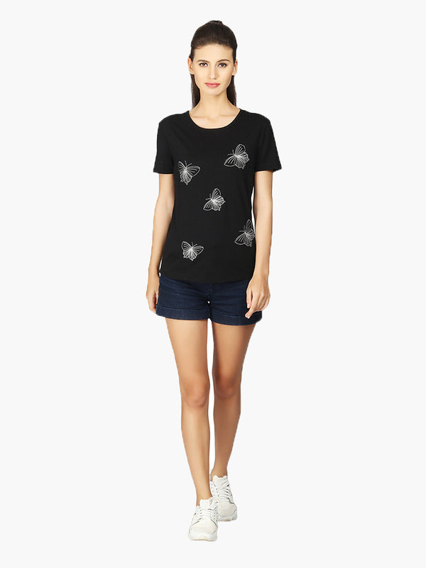 Black Butterfly Embroidered Viscose Knitted T-Shirt - MissGudi