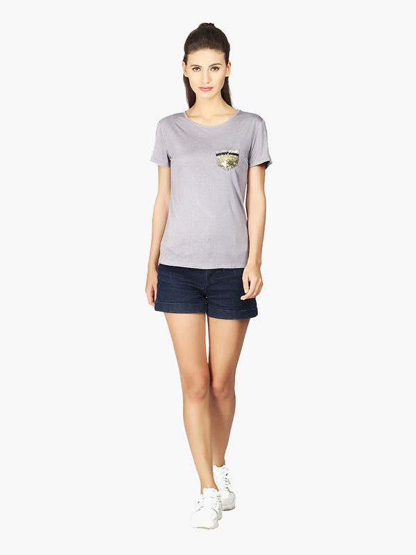 Gray Embellished Pocket Viscose Knitted T-Shirt - MissGudi