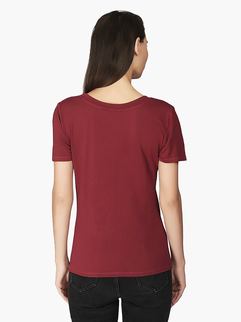 Rust Cotton Knitted Woman T-Shirt - MissGudi