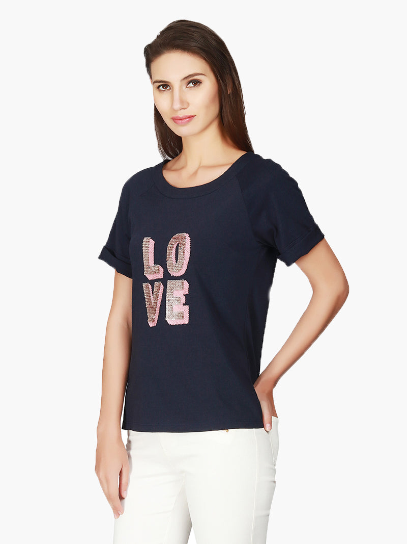 Navy Embellished Cotton Knitted T-Shirt - MissGudi