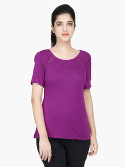 Purple Viscose Jersey Women T-Shirt - MissGudi