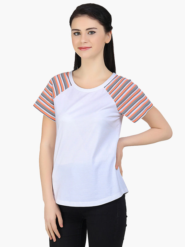 White Cotton Knitted Women T-Shirt - MissGudi