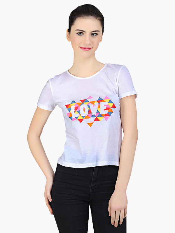 White Cotton Knitted Embroidered Women T-Shirt - MissGudi