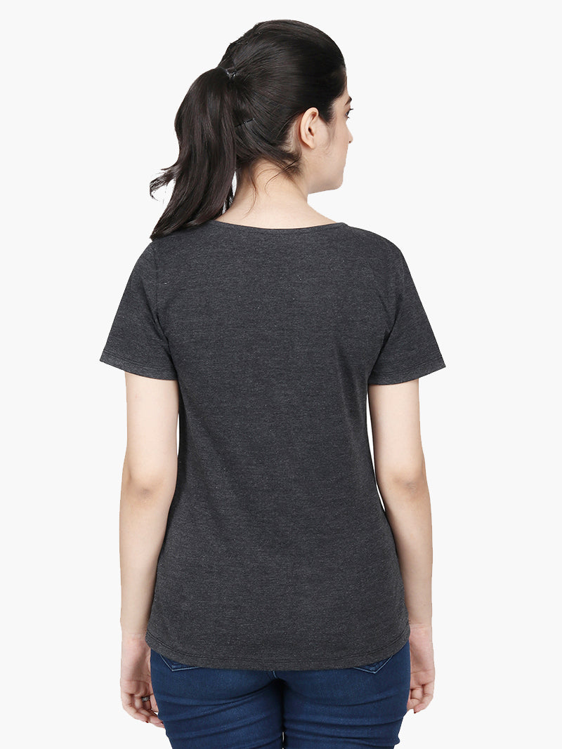 Grey Embellished Viscose T-shirt - MissGudi
