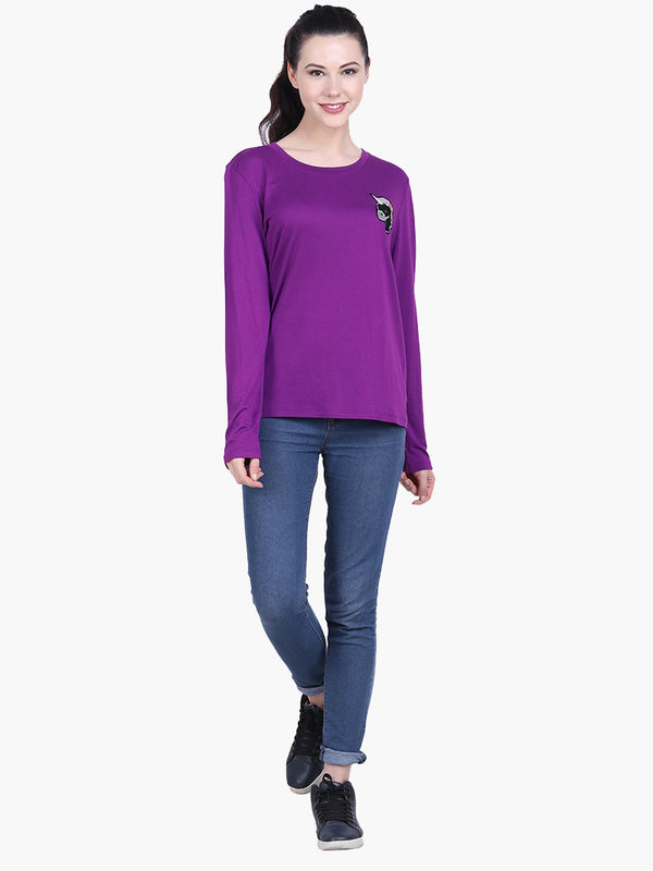 Purple Viscose Knitted Embroidered T-shirt - MissGudi