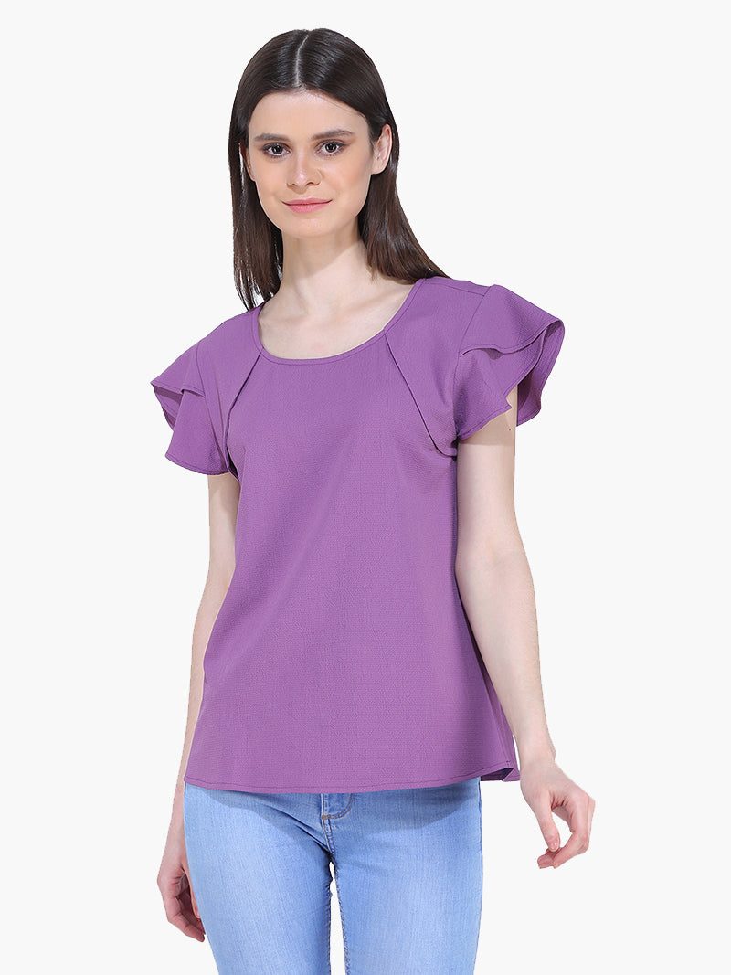 Purple Bubble Crepe Woman Top - MissGudi