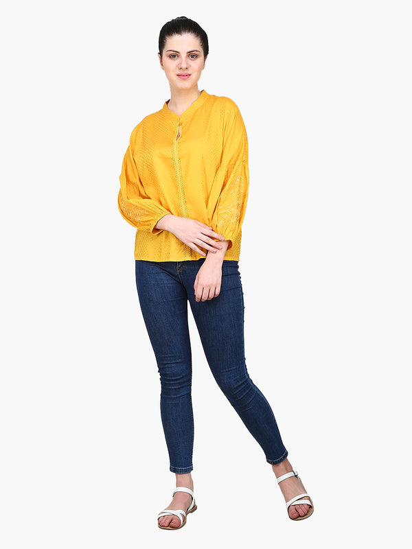 Mustard Embroidered Viscose Dobby Woman Top - MissGudi