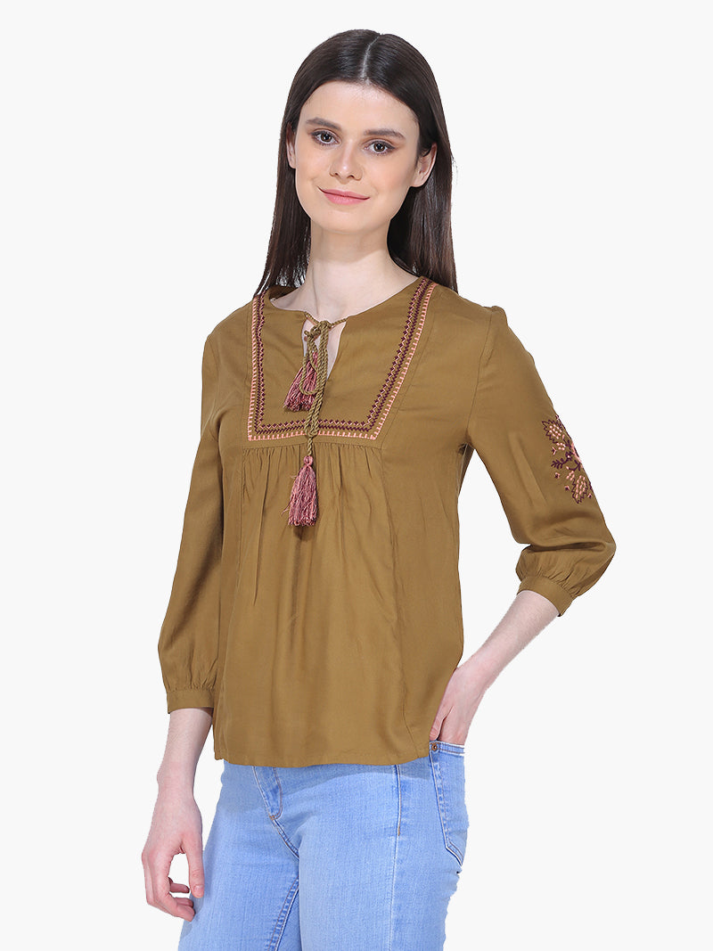 Olive Green Embroidered Woman Top - MissGudi